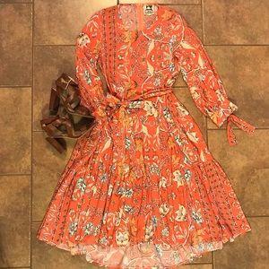 Dresses & Skirts - Orange Floral High-Low Dress